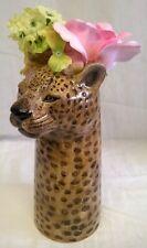 More details for quail ceramic leopard flower vase - wildlife animal big cat figure ornament
