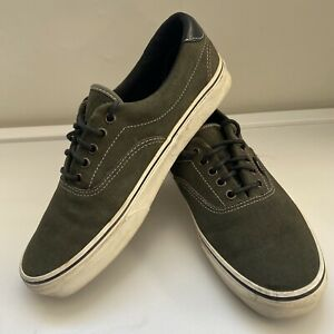 VANS Authentic Forrest Green Suede Black Leather Trainers UK 9.5 US 10