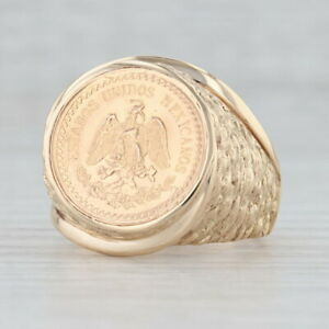 1945 2.5 Pesos Mexican Coin Ring 14k 900 Yellow Gold Size 10 Nugget Band
