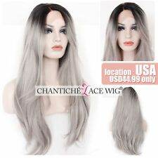 Ombre Gray Synthetic Lace Front Wigs Silver Gray Long Straight Synthetic Wigs 22