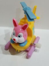PINK BUNNY IN CHOPPER WIND-UP TOY YELLOW HELICOPTER EXCELLENT WORKING CONDITION