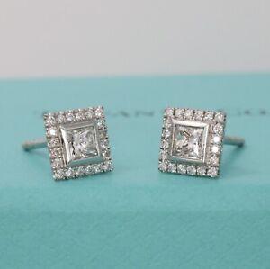 $8,300 Tiffany & Co. Soleste Platinum .93TC Princess Cut Diamond Stud Earrings