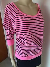 PINK by Victoria's Secret top blouse tee pink black cotton polyester M
