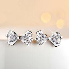 Bowknot Crystal CZ Vintage Silver Stud Teens/Ladies Party Earrings