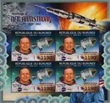 Neil Armstrong NASA APOLLO XI LUNE astronaute espace STAMP SHEET #4 (2012 Burundi)