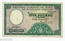 NATIONAL COMMERCIAL BANK OF SCOTLAND £5 BANKNOTE 16TH SEPT 1959