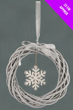 Natural Willow Christmas Hanging Wreath with Large Snowflake ( 25 cm )