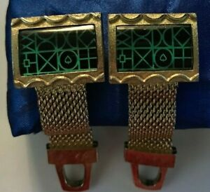 Vintage HICKOK Mesh Cufflinks Gold Colored Metal Green Abstract Design