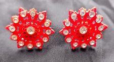 VINTAGE RED BAKELITE SCREW ON EARRINGS WITH 13 RHINSTONES