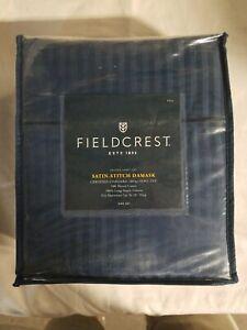 Full Size Fieldcrest Satin Stitch Damask 500ct Sheet Set Navy Blue