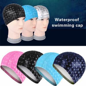 Men Women Swimming Cap Waterproof Fabric Protect Ears Hair Sports Swim Pool Hat
