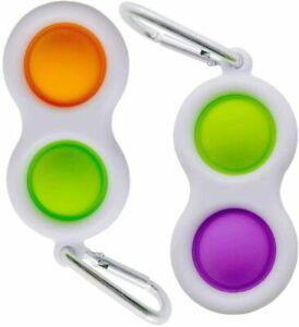 2x Simple Dimple Pop Bubble Fidget Toy KeyChain Board Sensory Stress Relief Kids