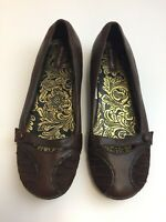 N815 Hush Puppies Hannah Leather Court Victorian Style Flat Shoes Brown UK 5