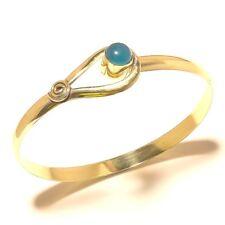 Tibetan Silver Brass Chalcedony Bangel Cuff Bracelet Gemstone Jewelry