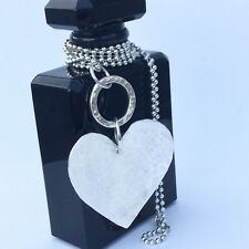Long sterling silver heart necklace, large hammered silver heart 80cm ball chain