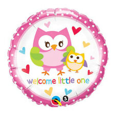 Baby Shower Foil Balloon Pink Owl Welcome Little One 46cm