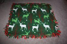 "Christmas Holiday Reindeer Themed Double-Thick Fleece Blanket/Throw - 52""x48"""