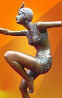 ART DECO BRONZE LIGHT PATINA CON BRIO SIGNED STATUE DANCER HOT CAST GIRL FIGURE