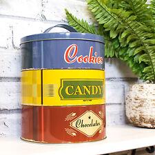 Stackable Biscuit Barrel Cookie Jar Sweets Tin Kitchen Storage Container Sweetie