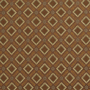 E638 Diamond Brown Green Gold Damask Upholstery Drapery Fabric By The Yard
