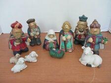 Lot of 11 Nativity Figurines~Wise Men~Shepherd~Mary Joseph Jesus~Sheep~Cow