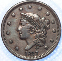 "1837 ""CORONET HEAD"" LARGE CENT, HEAD OF '38, CHOICE VF+, GORGEOUS BROWN COLOR!"