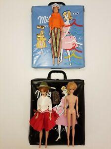 Vintage Midge Dolls, Clothes, Accessories 1963 Light Blue Case & Black Case Lot