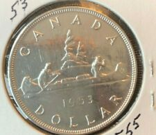 1953 Canadian  Silver Dollar (circulated & cleaned)