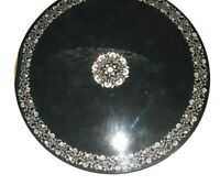 """42"""" black Marble round Table Top Inlay Work marquetry Garden dining Decor"""