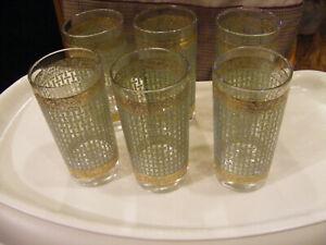 Set of 6 Vintage Culver Basketweave Green and Gold Highball Glasses