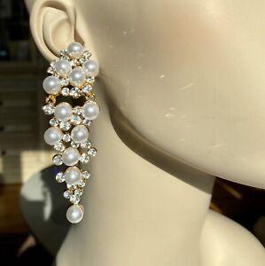 Christian Siriano New York Faux Pearl Clear Rhinestone Mega Chandelier Earrings