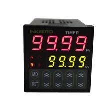Inkbird 110-240V Black IDT-E2RH Digital Twin Timer Relay Time Delay Relay Switch