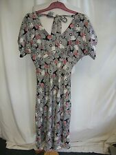 Ladies Dress Coast UK 12 black white red floral silk, fitted, long A-line 2005