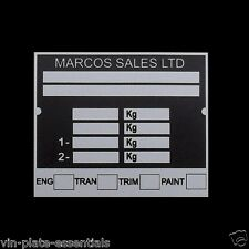 NEW REPRO MINI MARCOS KIT CAR Blank Chassis ID plate from VIN-PLATE- ESSENTIALS