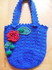 ROYAL BLUE ROSE crochet hand bag purse handmade crochet- ZIPPER POCKETS-NEW- USA