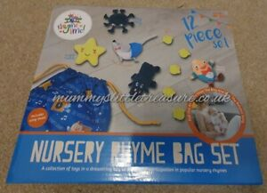 Rhyme Time - Nursery Rhyme Toy Collection Drawstring Song Bag 12 Piece Set.