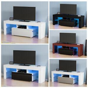 Modern TV Unit Cabinet TV Stand Cupboard Matt Body & High Gloss Doors LED Lights