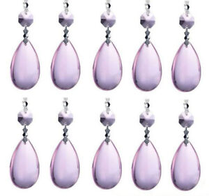 20Pcs Tear Drop Crystal Prisms Glass Lamp Chandelier Lighting Pendant Part