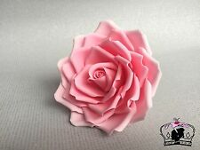 "Pink sugar paste rose flower, 4"" handmade, cake topper, wedding, edible"
