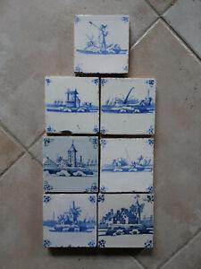 7 Delft Blue tiles, landscape tiles, circa 1750.