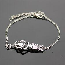 Double Heart Charm Bracelets Cupid LOVE Arrow trendy chain bracelet bangle gift
