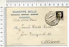 s572) CP Pubblicitaria 12.9.38 da Vicenza a Milano