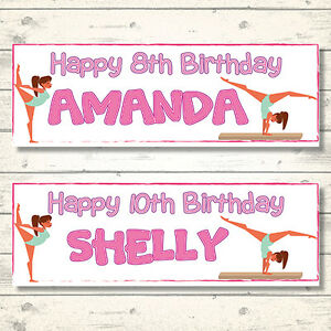 2 PERSONALISED 800mm x 297mm GYMNASTICS BIRTHDAY BANNERS - ANY NAME - ANY AGE