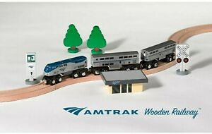 New Amtrak Wooden Railway P42 Superliner Train Set with Track, Station, & Signs