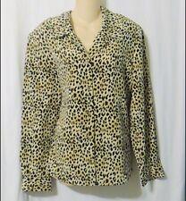 Norton McNaughton Leopard Print Long Sleeve Blouse Top Size 16