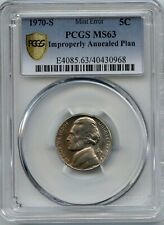 1970-S 5¢ IMPROPERLY ANNEALED PLAN PCGS MS-63