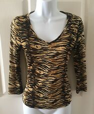 GUESS Sheer  Leopard Animal Print Blouse Top Shirt Size Medium M 3/4 Sleeves