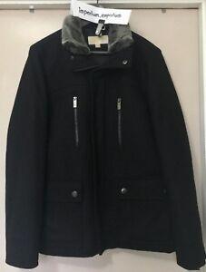 Men's Michael Kors Wool Blend Faux Fur Collar Winter Jacket Coat Black Size M