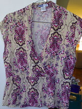 JEANS WEST Brown Small Cap Sleeve Floral Front wrap Top Blouse