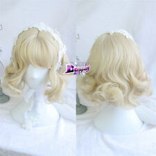 30cm Light Blonde Short Curly Hair Lolita Girls Heat Resistant Anime Cosplay Wig